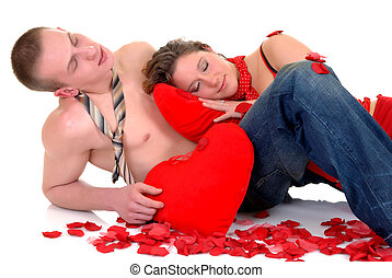 valentin, amour, jeunes adultes