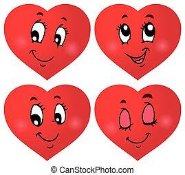 valentin, cœurs, 3, ensemble, thématique
