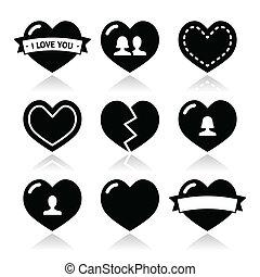 valentin, cœurs, ensemble, amour, icônes
