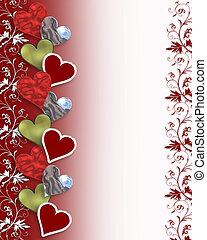 valentin, cœurs, frontière