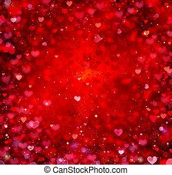 valentin, cœurs, résumé, rouges, arrière-plan., st.valentine's, jour