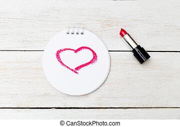 valentin, card., coeur, peint, rouge lèvres rouge, sur, paper.