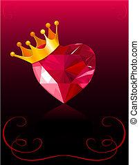 valentin, coeur, carte, cristal