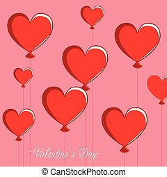 valentin, coeur, groupe, formé, air, balloons., jour