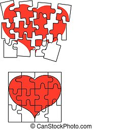 valentin, coeur, puzzle