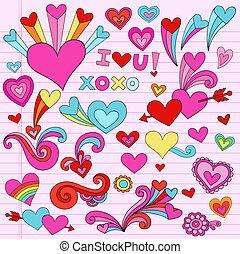 valentin, coeur, vecteur, amour, doodles