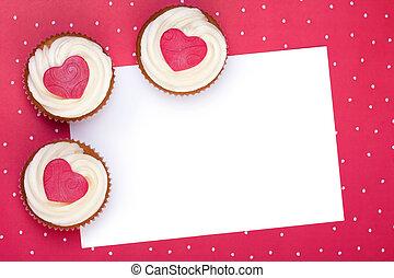 valentin, fond, petit gâteau