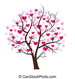 valentin, jour, arbre, amour, vecteur, concept