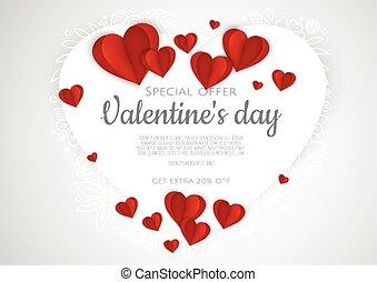 valentin, jour, cœurs, s, hearts., fond