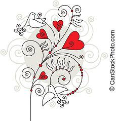 valentin, jour, carte, salutation