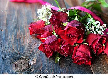 valentin, jour, roses