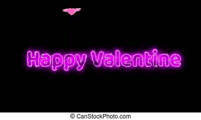 valentin, lumière, arc, texte, effet, voler, coeur, rose,...