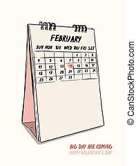 valentin nap, kéz, rajzol, 14 february, naptár, vector.