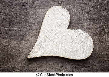 valentin nap, köszönés, card., szív, képben látható, egy, fából való, háttér.