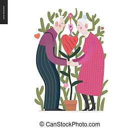 valentin, personnes agées, amour, -, couple, graphiques