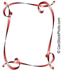 valentin, rouges, rubans, frontière
