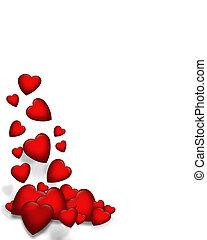 valentin, tomber, cœurs, frontière