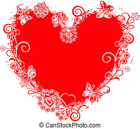 valentin, vecteur, grunge, coeur, cadre
