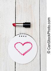 valentin, vertical., coeur, peint, rouge lèvres rouge, sur, paper.