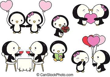 valentina, carino, arte, matrimonio, pinguini, clip