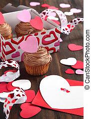 valentina, cioccolato, cupcake, e, scheda valentine