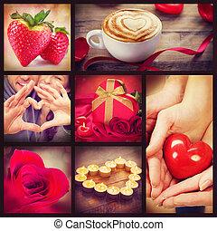 valentina, collage., giorno valentines, cuori, arte, disegno
