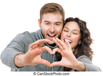valentina, coppia, isolato, bianco, fondo