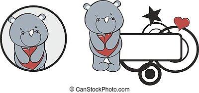 valentina, cuore, abbraccio, cartone animato, rinoceronte