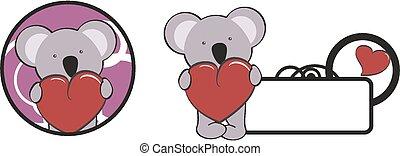 valentina, cuore, abbraccio, koala, cartone animato