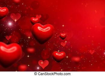 valentina, cuori, fondo., valentines, rosso, astratto, carta...