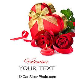 valentina, forma cuore, scatola regalo, e, rose rosse, mazzolino