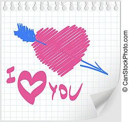 valentina, mano, disegnato, vettore
