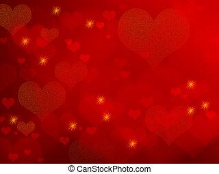 valentinbrev, bakgrund, -, röd, hjärtan