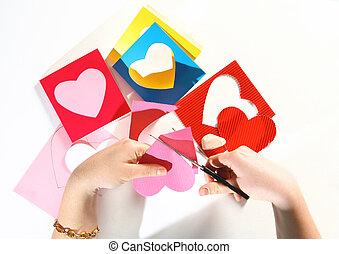valentinbrev, färg kort