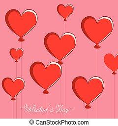 valentinbrev, hjärta, grupp, format, luft, balloons., dag