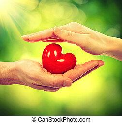 valentinbrev, hjärta, in, herre och kvinna, händer slut,...