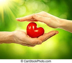 valentinbrev, hjärta, in, herre och kvinna, händer slut, natur, bakgrund
