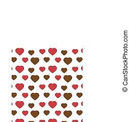 valentinbrev, hjärta mönstra, bakgrund, vit, seamless