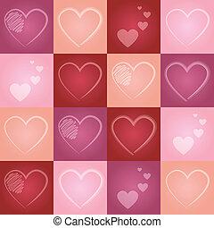 valentinbrev, hjärta, seamless, mönster