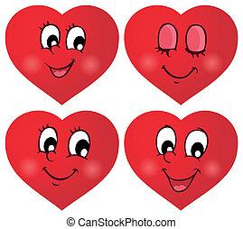 valentinbrev, hjärtan, 2, sätta, tematisk