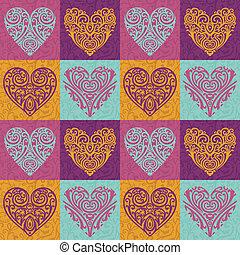 valentinbrev, hjärtan, mönster
