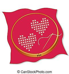 valentinbrev, hjärtan, två, broderi, röd