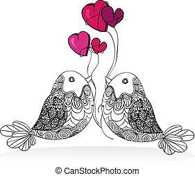 valentinbrev, par, fågel, kärlek, isolerat