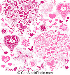valentinbrev, seamless, mönster