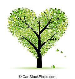 valentinbrev, träd, kärlek, blad, från, hjärtan
