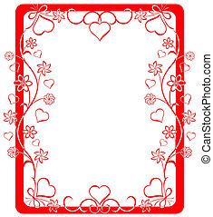 valentinbrev, vektor, illustration., ram