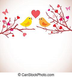 valentindag, bakgrund., fåglar, på, grenverk, (vector)