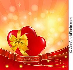valentineçs jour, arrière-plan., deux, rouges, cœurs, à, a,...