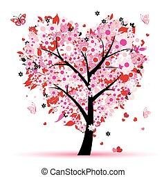 valentine, árbol, amor, hoja, de, corazones
