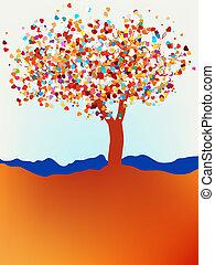 valentine, árbol, amor, hoja, de, hearts., eps, 8
